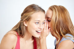 Happy young women whispering gossip at home Royalty Free Stock Images
