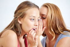 Happy young women whispering gossip at home Royalty Free Stock Photo