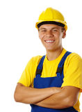 Happy young worker fold his arms and smile Stock Images