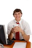 Happy Young Worker at Office Royalty Free Stock Photos