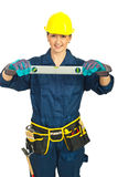Happy young worker woman Stock Image