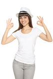 Happy young yoman gesturing OK Stock Image