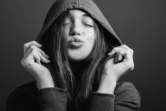 Happy youth affection young woman blowing kiss stock images