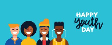 Happy Youth Day teen people group web banner Stock Image