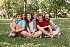 Happy Youth on Lawn Royalty Free Stock Photography