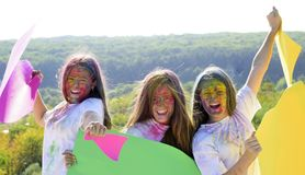 Happy youth party. Optimist. Spring vibes. children with creative body art. positive and cheerful. Crazy hipster girls. Summer weather. colorful neon paint stock images