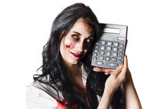 Zombie with calculator. Happy zombie businesswoman with calculator, budget cuts concept on white background Stock Photography