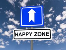 Happy Zone sign. A traffic sign with the directions to Happy Zone royalty free stock photos