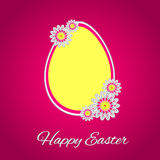 HappyEaster. Congratulation. Big yellow egg on the pink background. Vector illustration Royalty Free Stock Photo