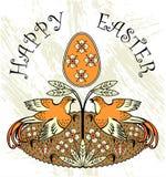 Happyeaster-Karte mit Eiern und zwei Vögeln Stockbild