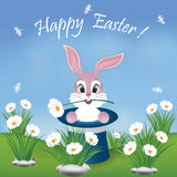 HappyEasterCardWithBunnyInMagicianHat Royaltyfria Foton