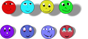 Happyfaces. Various happy faces in colors and styles Stock Photography