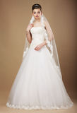 Happyl Bride in White Long Dress and Viel Royalty Free Stock Image