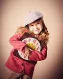 Happyl child holding old clock Royalty Free Stock Photography