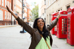 Happyness. A happy woman in London Royalty Free Stock Photo