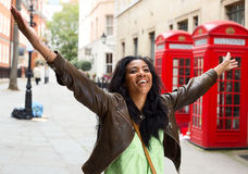 Happyness. A Happy woman in London Royalty Free Stock Photography