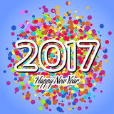 HappyNewYear-04. Happy New Year 2017 background. Happy holidays card with irregular colorful circles. Creative design for your greetings card, flyers, posters Royalty Free Stock Image