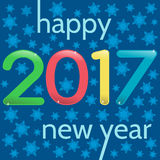 HappyNewYear-34. 2017 Happy New Year greeting card. Multicolor numbers on a blue background with snowflakes Stock Photo