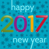 HappyNewYear-35. 2017 Happy New Year greeting card. Multicolor numbers on a blue background with snowflakes Stock Photo