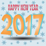 HappyNewYear-33. Happy New Year. 2017 New Year 3d yellow numbers on a blue background with snowflakes. Vector illustration Royalty Free Stock Photo