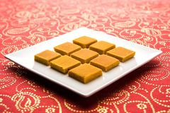 Hapus Amba Vadi / Burfi or Alphonso mango dried Cake or Bar, selective focus. Served in a plate over decorative background Stock Images