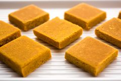 Hapus Amba Vadi / Burfi or Alphonso mango dried Cake or Bar, selective focus. Served in a plate over decorative background Stock Photography
