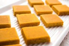 Hapus Amba Vadi/dolce secco mango di Alphonso o di Burfi o Antivari, fuoco selettivo Fotografie Stock Libere da Diritti