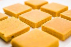 Hapus Amba Vadi/dolce secco mango di Alphonso o di Burfi o Antivari, fuoco selettivo Immagini Stock