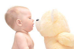 Hapy baby with teddy bear royalty free stock image