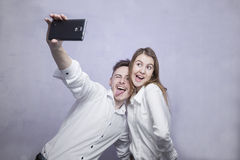Hapy couple selfie Royalty Free Stock Image