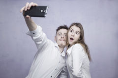 Hapy couple selfie Royalty Free Stock Photos