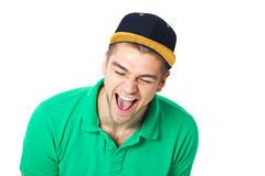 Hapy face of  young man - isolated on white. Royalty Free Stock Image