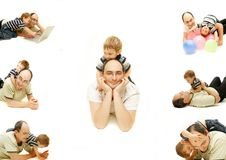 Hapy father and son collection Stock Photo