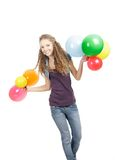 Hapy girl going with balloons over white Royalty Free Stock Photography