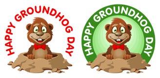 Hapy Groundhog dag Den roliga tecknad filmmurmeldjuret gratulerar dig Fotografering för Bildbyråer