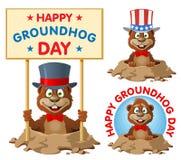 Hapy Groundhog dag Rolig tecknad filmgroundhog i congren för bästa hatt Arkivfoton