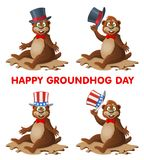 Hapy Groundhog dag Rolig tecknad filmmurmeldjur som hälsar dig medan taki Fotografering för Bildbyråer