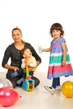 Hapy mom with two kids Stock Image