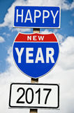Hapy New Year 2017 on american roadsign Royalty Free Stock Photos