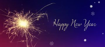 Happy New Year greeting card. Happy New Year greeting and sparkler royalty free stock photos