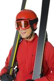 Hapy skier with his skis. Happy skier with his skis. He's dressed red ski-clothes. He's on white background Stock Photo