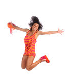 Hapy smiling girl jumping Royalty Free Stock Photo