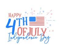 Hapy 4th Juli, självständighetsdagen med den roliga blandningen av klotterhand D royaltyfri illustrationer
