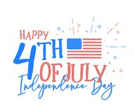 Hapy 4th of July, independence day with fun mix of doodle hand d. Rawn and calligraphic text. Vector background banner for american national holiday with USA Royalty Free Illustration