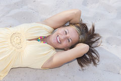 Hapyy retired woman relaxed at beach Stock Photo