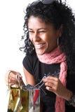 Haqppy avec elle présents Photographie stock libre de droits