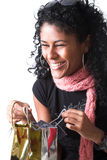 Haqppy con lei presente fotografia stock libera da diritti