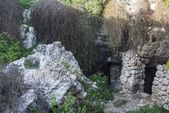 Har il-Kbir the Great Cave | outisde. Ghar il-Kbir the Great Cave ancient caves close to cart ruts junctions stock photo