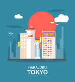 Harajuku beautiful town in Tokyo illustration design.  Royalty Free Stock Image