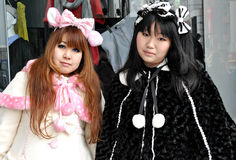 Harajuku Lolita Girls. Lolita girls in the Harajuku district, in japan stock image